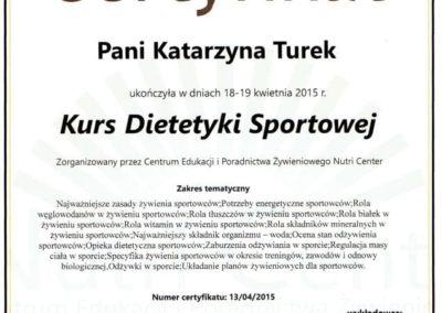 Katarzyna Turek kurs dietetyki sportowej