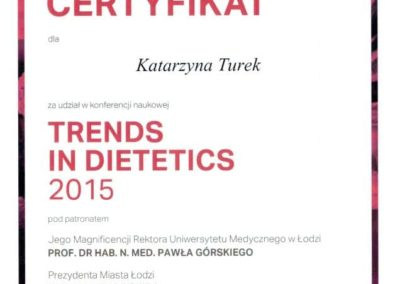 Katarzyna Turek - trends in dietetics 2015