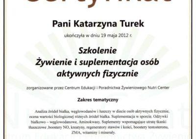 Katarzyna Turek - zywienie i suplementacja osob aktywnych fizycznie